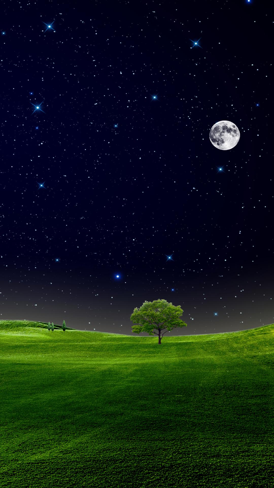 Sky full of stars and moon mobile wallpaper