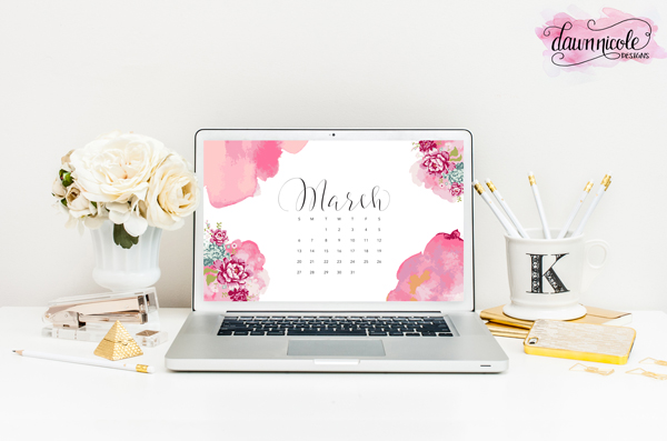 March Calendar - wallpaper by DawnNicoleDesigns