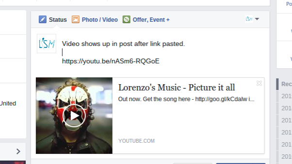 paste youtube link in facebook post