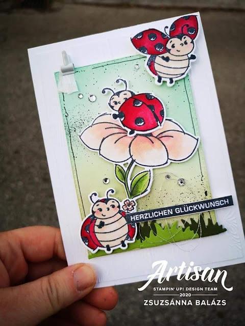 Carte réalisée avec les estampes Petite Coccinelle et les poinçons Coccinelles