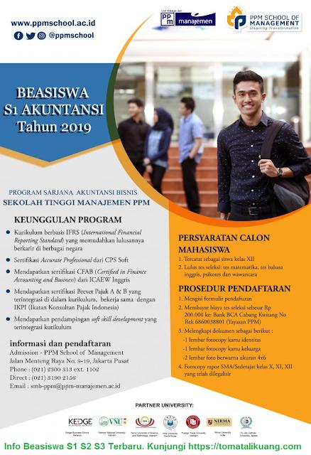 Pendaftaran Beasiswa S1 Akuntansi Bisnis 2019 di PPM Manajemen Jakarta Pusat Untuk Lulusan SMA SMK MA Sederajat, tomatalikuang.com