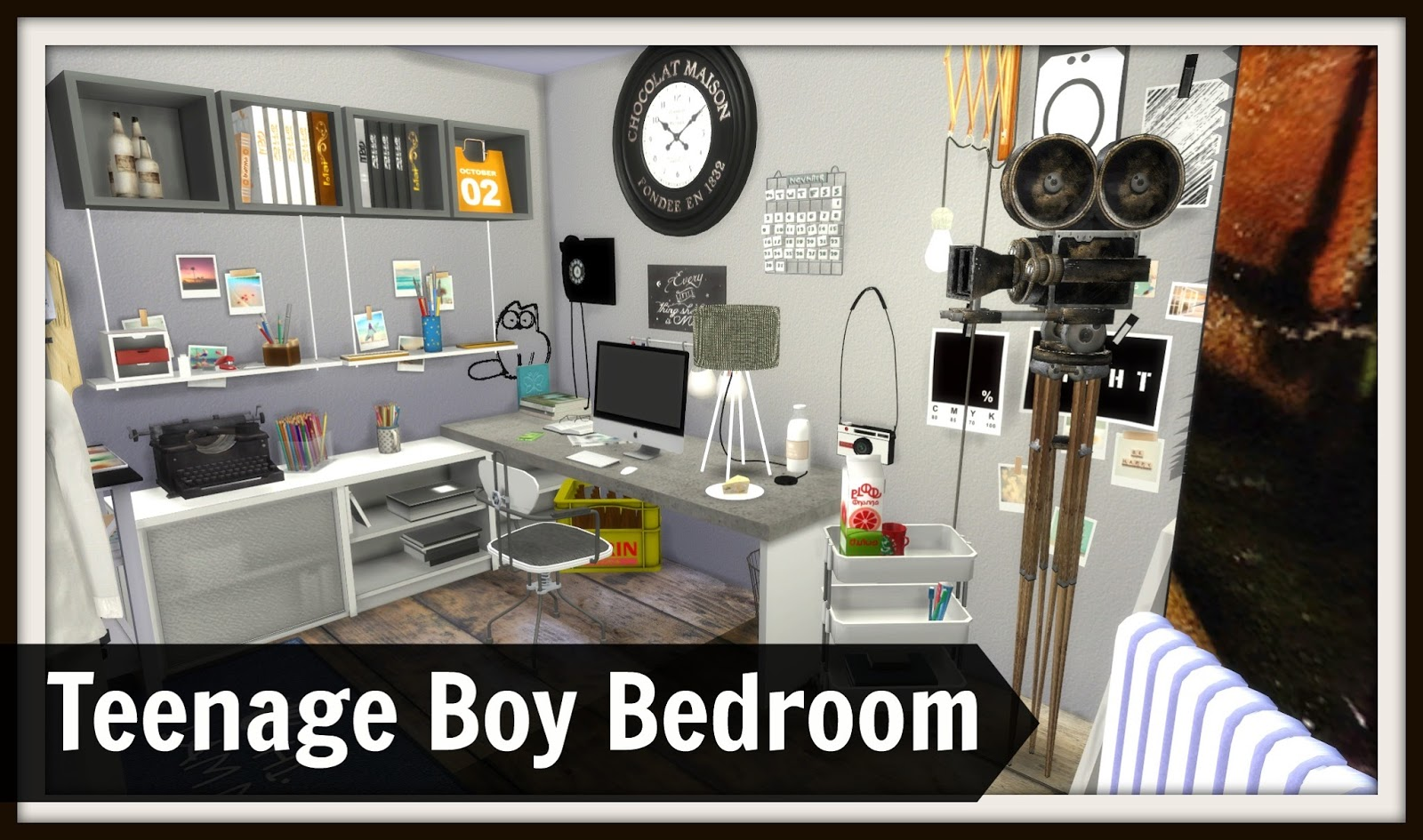 Sims 4 teenage boys room dinha for Bedroom designs sims 4