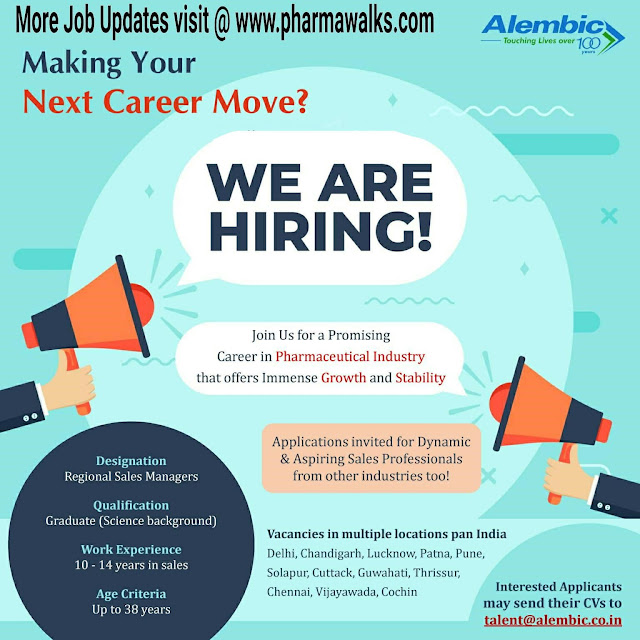 Alembic Pharmaceuticals hiring for Regional Sales Manager (RSM) in Pan India