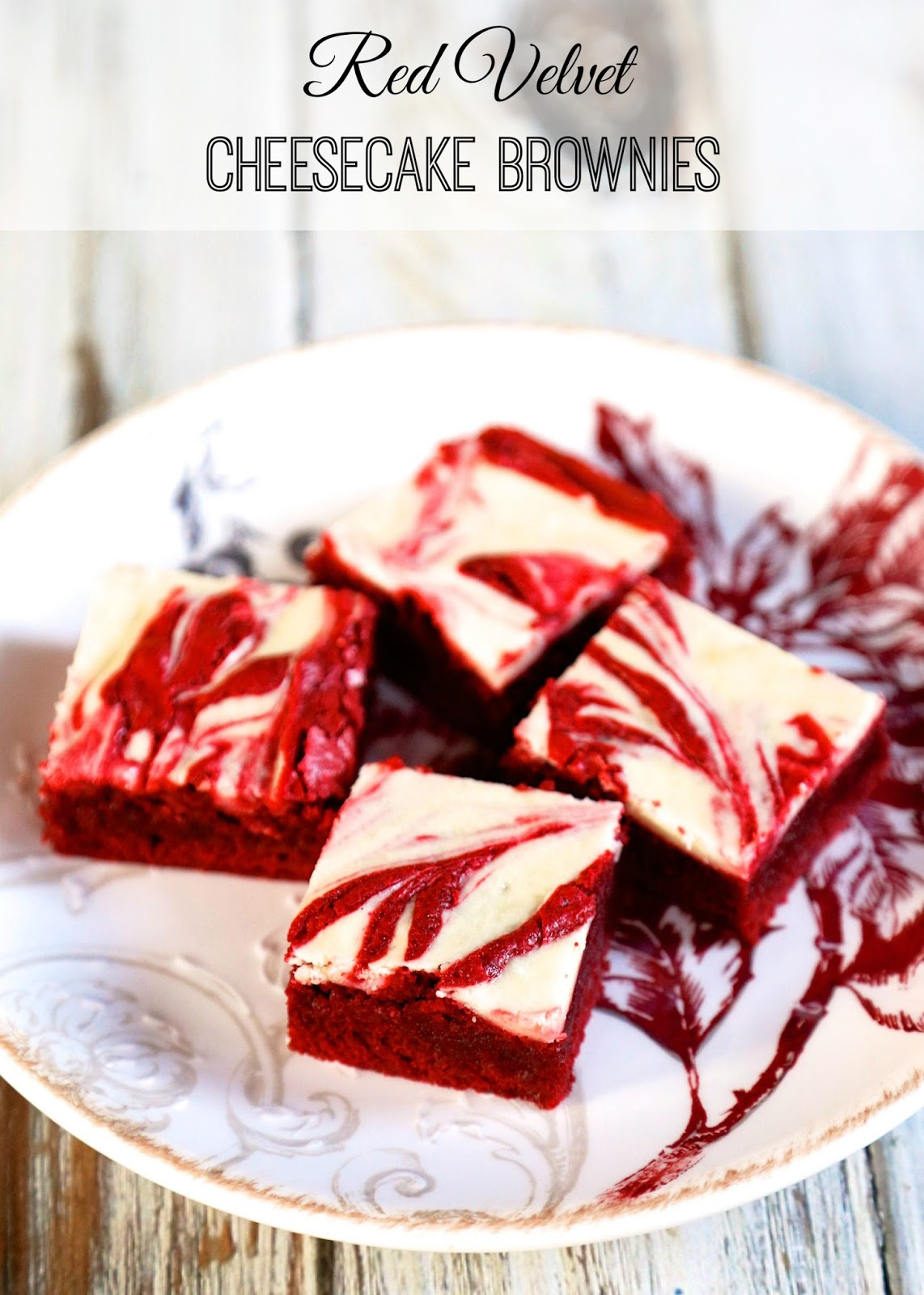 Red Velvet Cheesecake Brownies Homemade With Swirled In The Batter