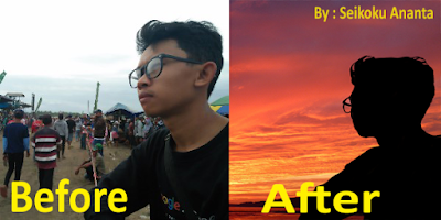 Edit Foto Siluet With Background Sunset di Android ( App Picsay Pro )
