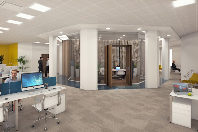 perspective 3D photo-réaliste des bureaux