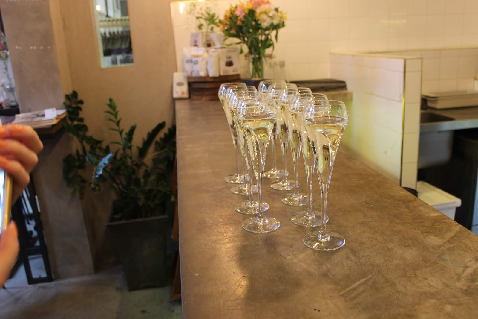 Prosecco lined up at York's Cafe