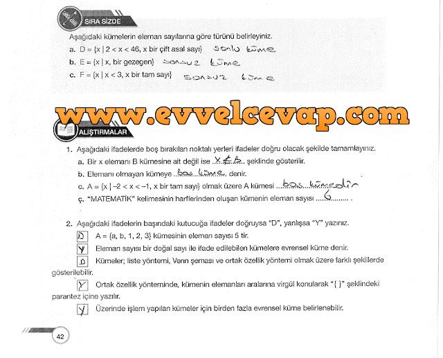 9. Sınıf Ödev Yayınları Matematik 42. Sayfa Cevapları