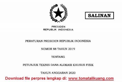 download perpres nomor 88 tahun 2019 pdf; tomatalikuang.com