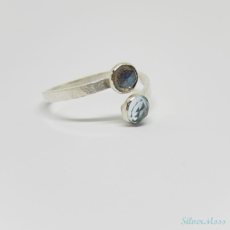 Sky blue topaz and Labradorite faceted gemstone sterling silver ring - silvermoss