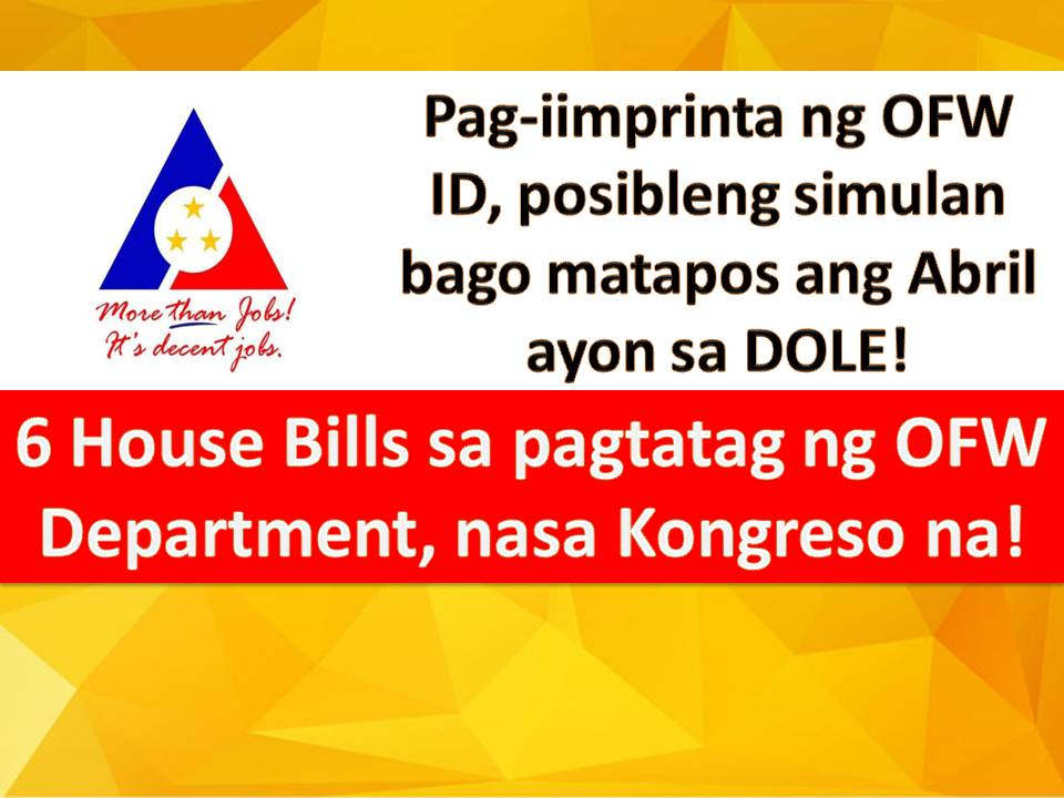 "A Philippine Congress should pass a law to create a separate department for Overseas Filipino Workers (OFWs) and for national ID system that would hasten government transactions.  The Department for Overseas Filipino Workers (DOFW) if established aims to promote overall welfare, rights and needs of OFWs, which is a fitting recognition to the ""modern heroes"" of the country due to their significant contribution to the economy.  President Rodrigo Duterte received this two main concerns of OFW when he visited the Middle East last Holy Week."