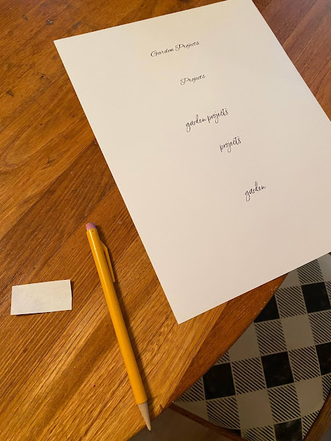 Photo of card stock with printed file label words