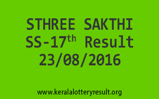 23-08-2016 SATURDAY STHREE SAKTHI SS-17 KERALA LOTTERY RESULTS
