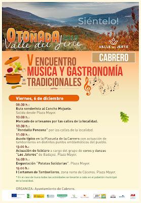 V Encuentro música y gastronomía tradicionales. 6 de diciembre en Cabrero.