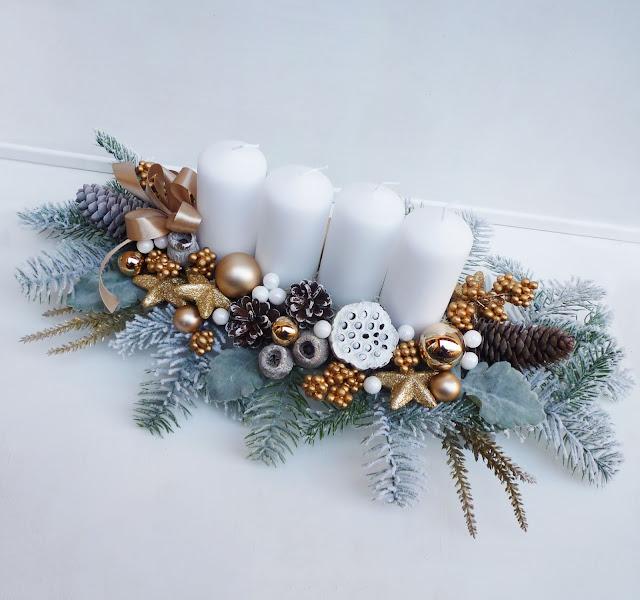 Arany fehér karácsonyi asztaldísz