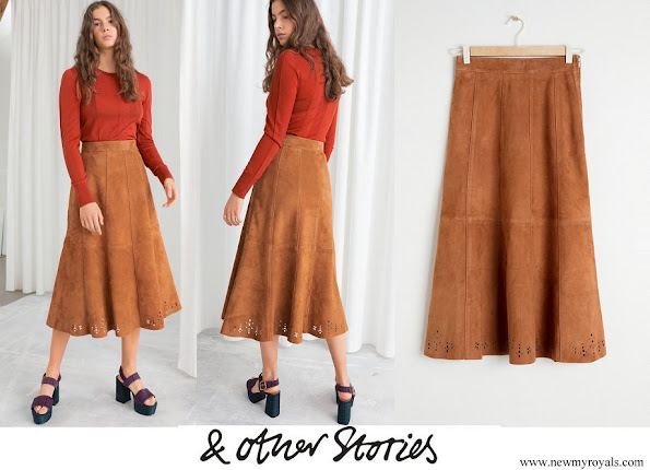 Princess Sofia wore &Other Stories Pleated Suede Midi Skirt