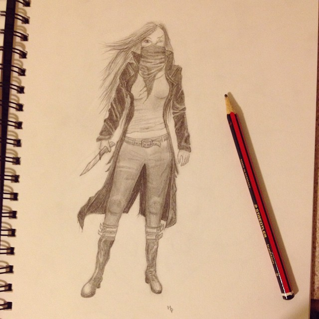 hester shaw with knife pencil drawing