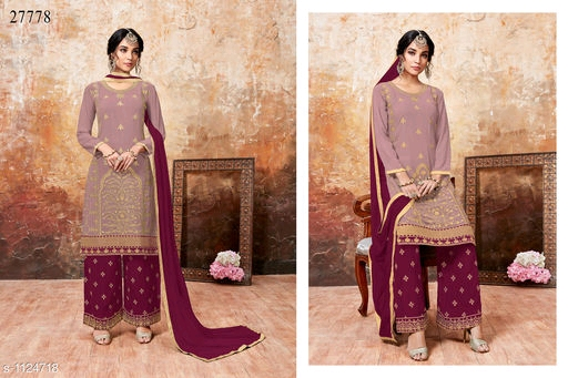 9eed7ccd70 *BOTTOM* : Georgette +Heavy Embroidery (2.25 Mtr ) *INNER*: Santoon + Solid  (2.00 Mtr) *DUPATTA* : Chiffon + Solid (2.25 Mtr) *TYPE*: Semi-Stitched