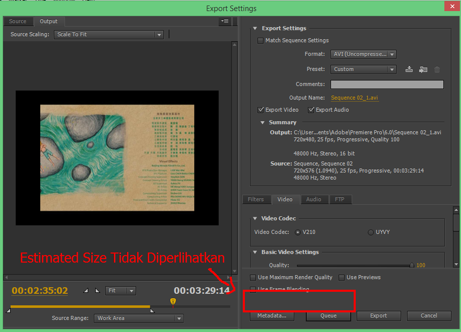 2 cara rendering video di adobe