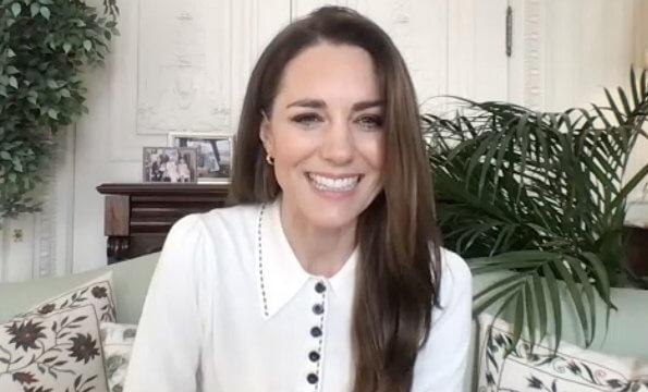 Kate Middleton wore a new cotton merino collared jumper from LK Bennett. Astley Clarke earrings