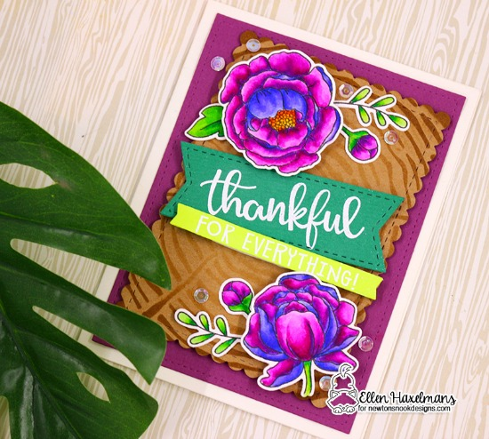 Thank you card by  Ellen Haxelmans | Thankful Thoughts Stamp Set, Peony Blooms Stamp Set and Tree Rings Stencil by Newton's Nook Designs #newtonsnook #handmade