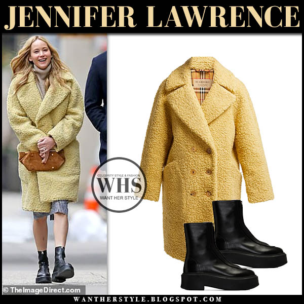 Jennifer Lawrence in yellow burberry teddy coat and black the row boots. Winter outfit december 17