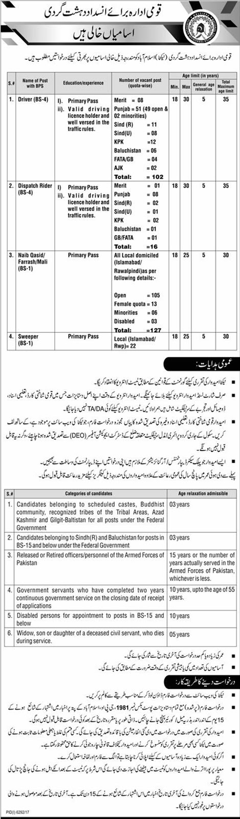 National Counter Terrorism Authority Islamabad Jobs