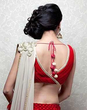Beads V Neck Shaped Saree Blouse Design