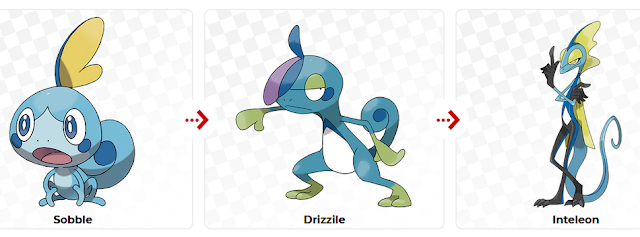 Pokémon Sword Shield Sobble Drizzile Inteleon water starter evolutions family Galar