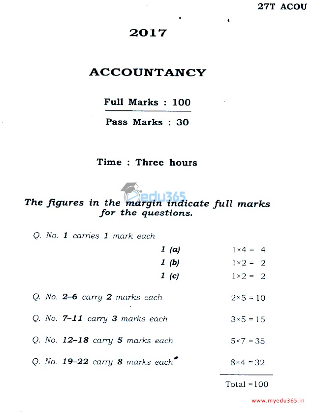 2017 H.S. 1st Year ACCOUNTANCY Question Paper - myedu365