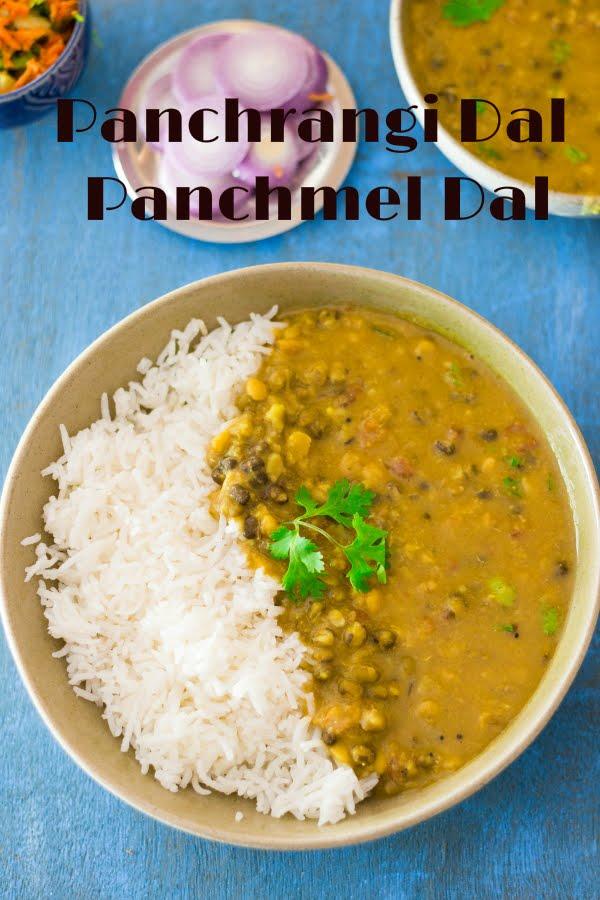 How to make vegan Panchmel Dal or mixed lentil soup at www.oneteaspoonoflife.com
