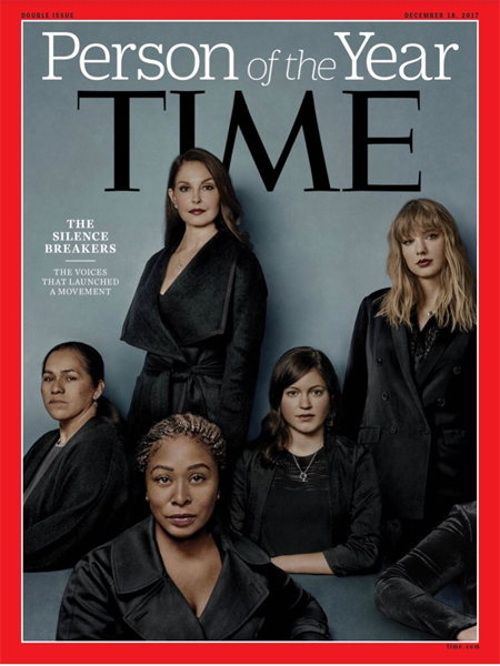 image of Time's cover for their Person of the Year issue, featuring five women and text reading: 'Person of the Year | The Silence Breakers | The voices that launched a movement.'