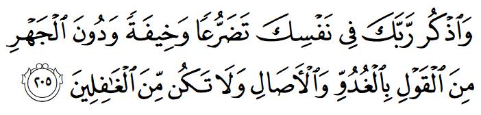 Adab, Waktu, Tempat Berdzikir dan Berdoa - Q.S. al-Araf 205