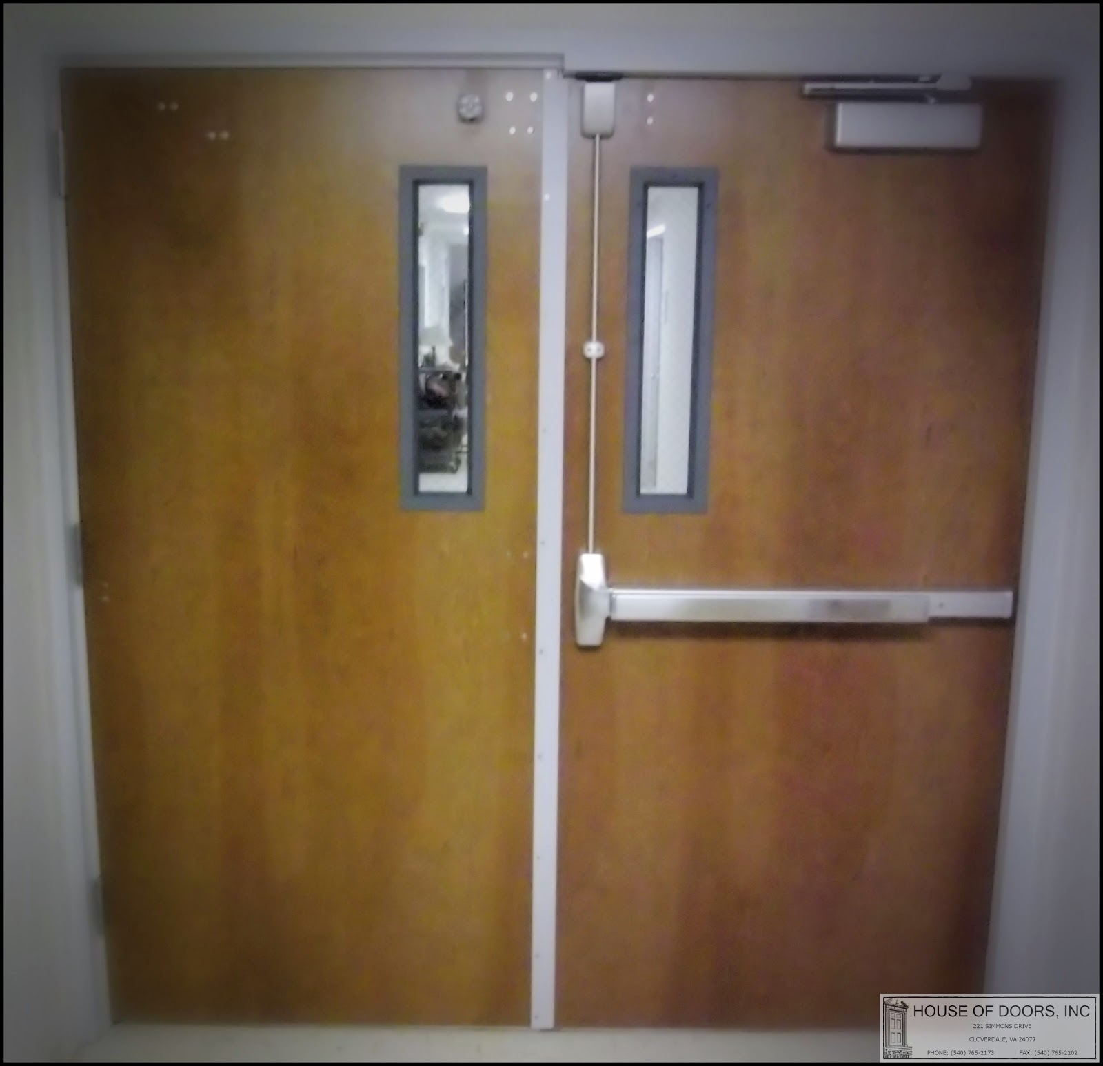 Double egress wood fire doors with fire hardware supplied and installed by House of Doors - Roanoke VA & Double egress wood fire doors with fire hardware supplied and ...
