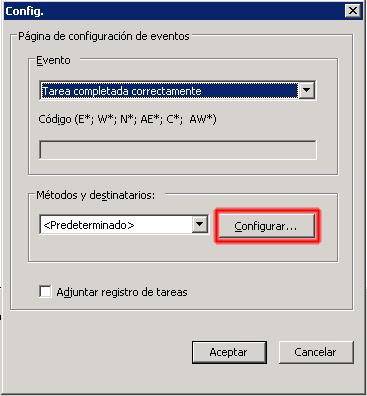 Configurar Métodos y destinatarios
