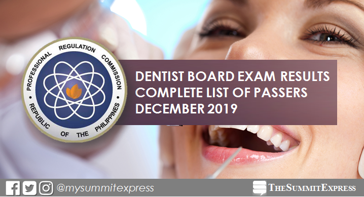 FULL RESULTS: December 2019 Dentist board exam list of passers, top 10