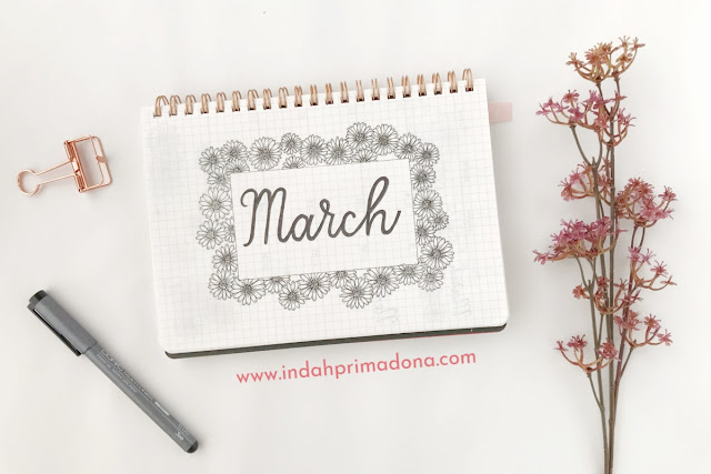 bullet journal setup, march 2019 bullet journal setup, bullet journal indonesia, tema bullet journal, weekly spread, monthly spread, memories page, productivity tracker, bujo, bujo indonesia