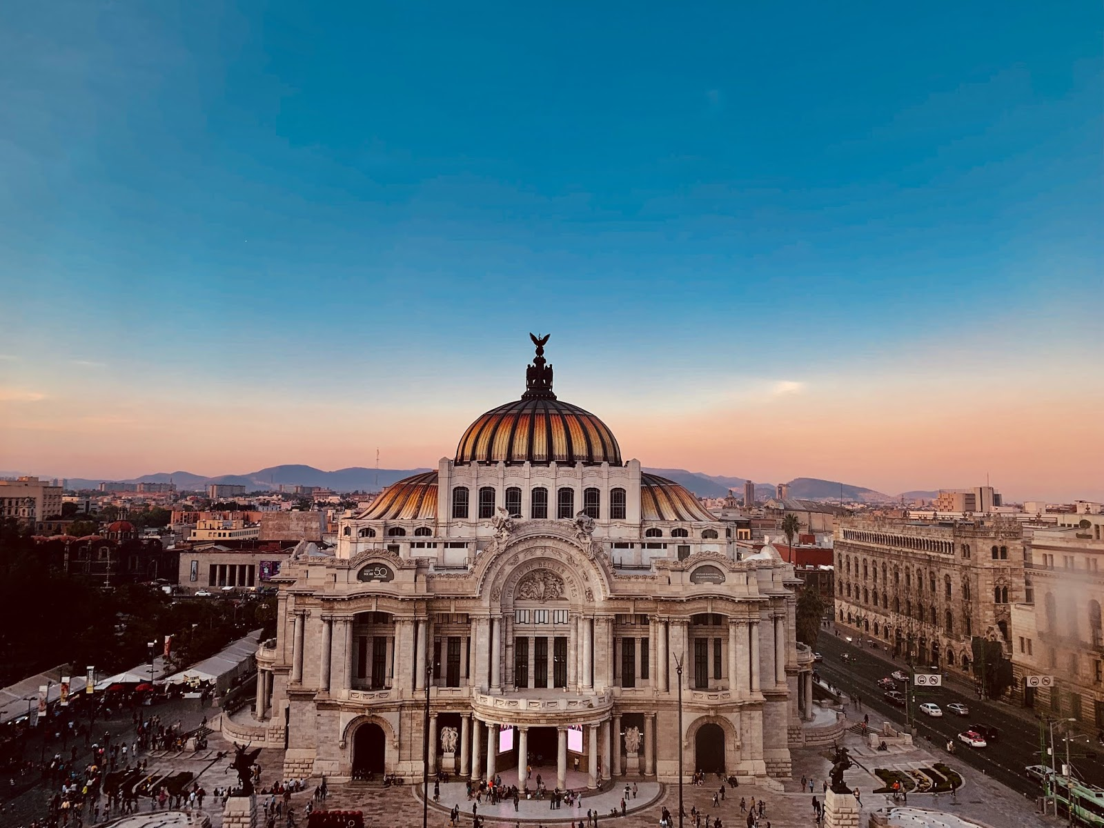 An arial view overlooking the square of Palacio de Bellas Artes