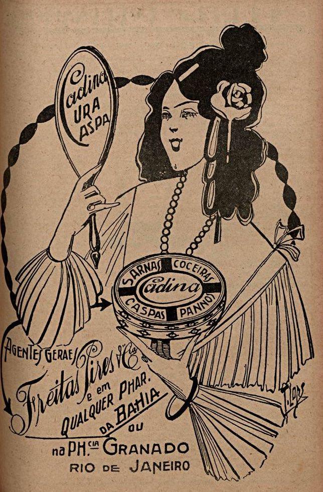 Propaganda antiga da Cadina para malefícios da pele em 1923