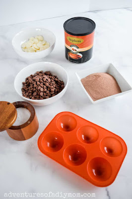 ingredients for salted caramel hot cocoa bombs