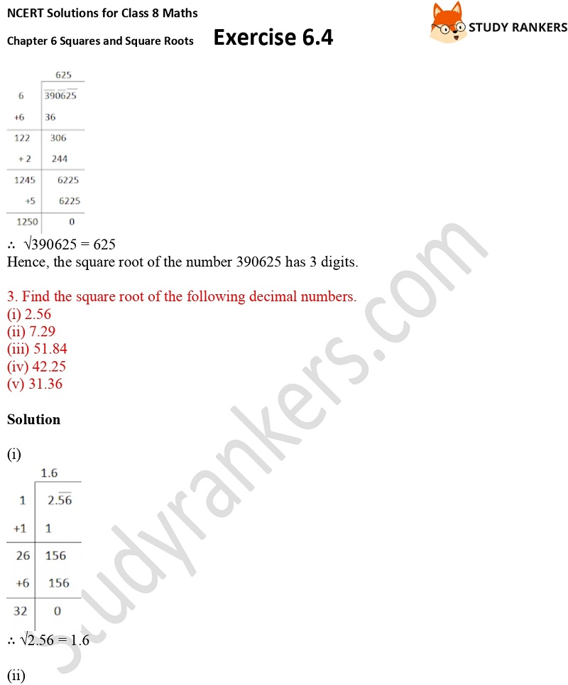 NCERT Solutions for Class 8 Maths Ch 6 Squares and Square Roots Exercise 6.4 7