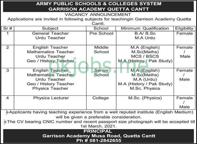 Latest Army Public School & Colleges System Education Posts 2021