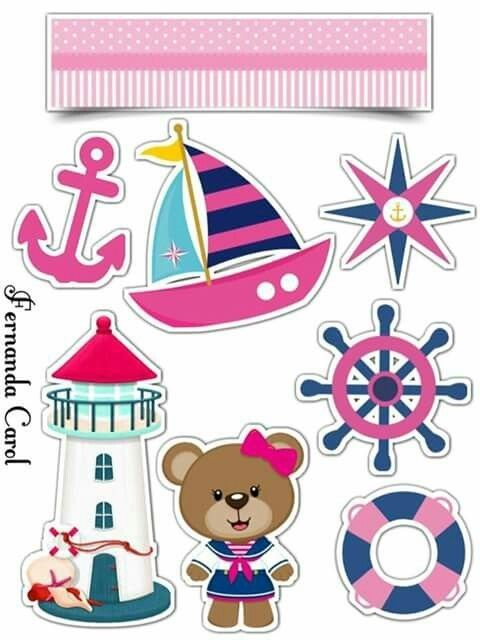 Baby Sailor Bear Free Printable Cake Toppers.