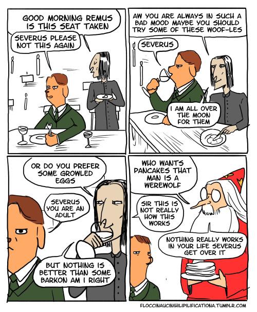 Dumbledore and Snape make puns at Remus