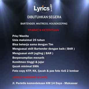 Lowongan Kerja di Lyrics Karaoke & Cafe
