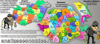 Topurile județelor după rata infracționalității din Republica Moldova, România și Ungaria