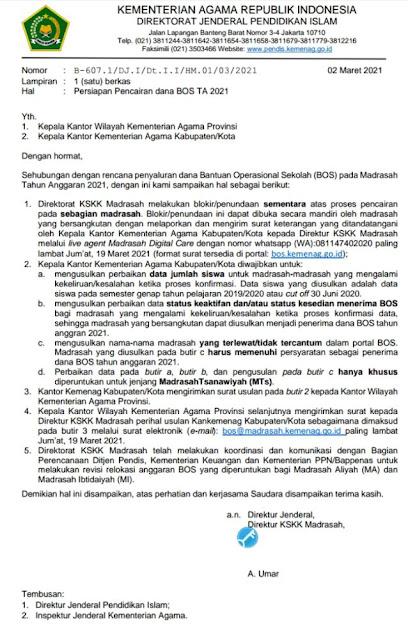 TERBARU Surat Edaran Persiapan Pencairan dana BOS Tahun Anggaran 2021
