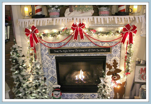 Vintage- Inspired- Cottage -Farmhouse- Christmas- Mantel-DIY-Chalkboard-Sign-Peel & Stick-Tile-Felt-Bows-From My Front Porch To Yours