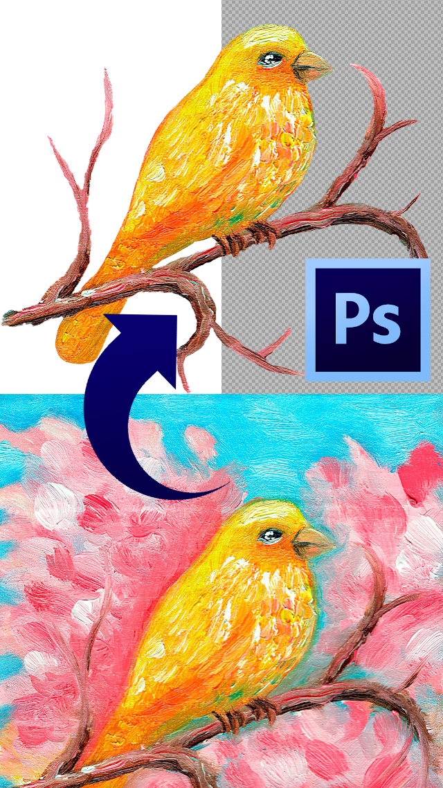 How to remove the background from your artwork or photo to add a transparent background with Photoshop.