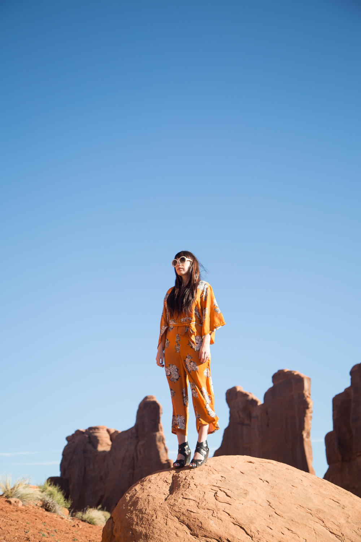 Asos Orange Floral Kimono Jumpsuit
